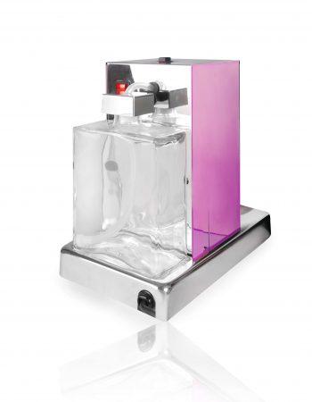 La Piccola Piccola Pink ESE Kaffeemaschine violett front Glasflasche